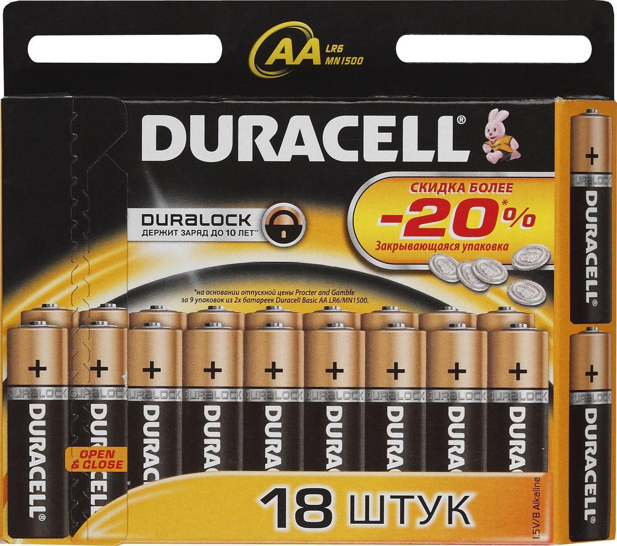 Набор алкалиновых батареек Duracell Basic, LR6-18BL, 18 шт81483682Набор батареек Duracell Basic предназначен для использования в различных электронных устройствах небольшого размера, например в пультах дистанционного управления, портативных MP3-плеерах, фотоаппаратах, различных беспроводных устройствах.