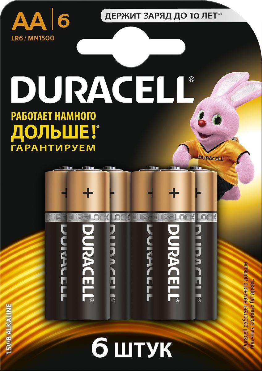 Набор алкалиновых батареек Duracell Basic, LR6-6BL, 6 шт81485016Набор батареек Duracell Basic предназначен для использования в различных электронных устройствах небольшого размера, например в пультах дистанционного управления, портативных MP3-плеерах, фотоаппаратах, различных беспроводных устройствах.