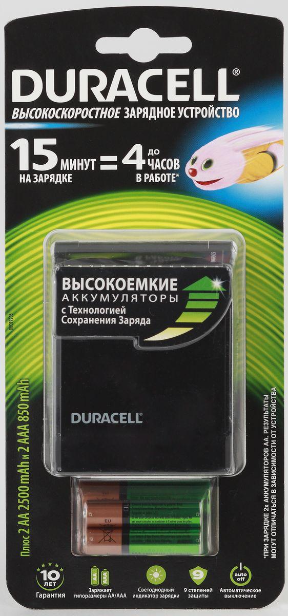Зарядное устройство для аккумуляторов Duracell CEF 27 + 2 AA (2500 мАч) + 2 AAA (850 mAh)81546731Простое в использовании зарядное устройство Duracell CEF 27 предназначено для зарядки никель-металлогидридных аккумуляторов. Заряжает аккумуляторы АА и ААА любой мощности. Четыре независимых канала позволяют заряжать 2 или 4 аккумулятора AA или AAA одновременно. Светодиодные индикаторы показывают уровень зарядки батарей. В устройстве предусмотрена автоматическая защита от перегрузки и перегрева. Также эта модель оснащена функцией автоматического отключения зарядки. Время зарядки от 4-х часов. В комплект входят 2 аккумулятора типа AA (2500 мАч) и 2 аккумялятора типа AAA (850 mAh).