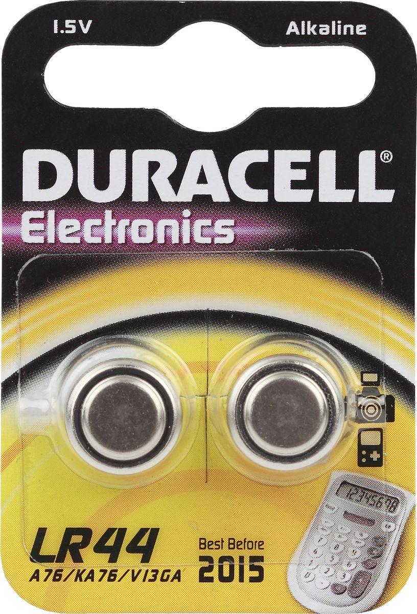 Батарейка алкалиновая Duracell, тип LR44, 2 шт81488664Щелочные (алкалиновые) батарейки Duracell оптимально подходят для повседневного питания множества современных бытовых приборов: автосигнализаций, электронных игрушек, фонарей, беспроводной компьютерной периферии и многого другого. Не содержат кадмия и ртути. Батарейки созданы для устройств со средним и высоким потреблением энергии. Работают в 10 раз дольше, чем обычные солевые элементы питания. Размер батарейки: 1,1 х 1,1 х 0,5 см.