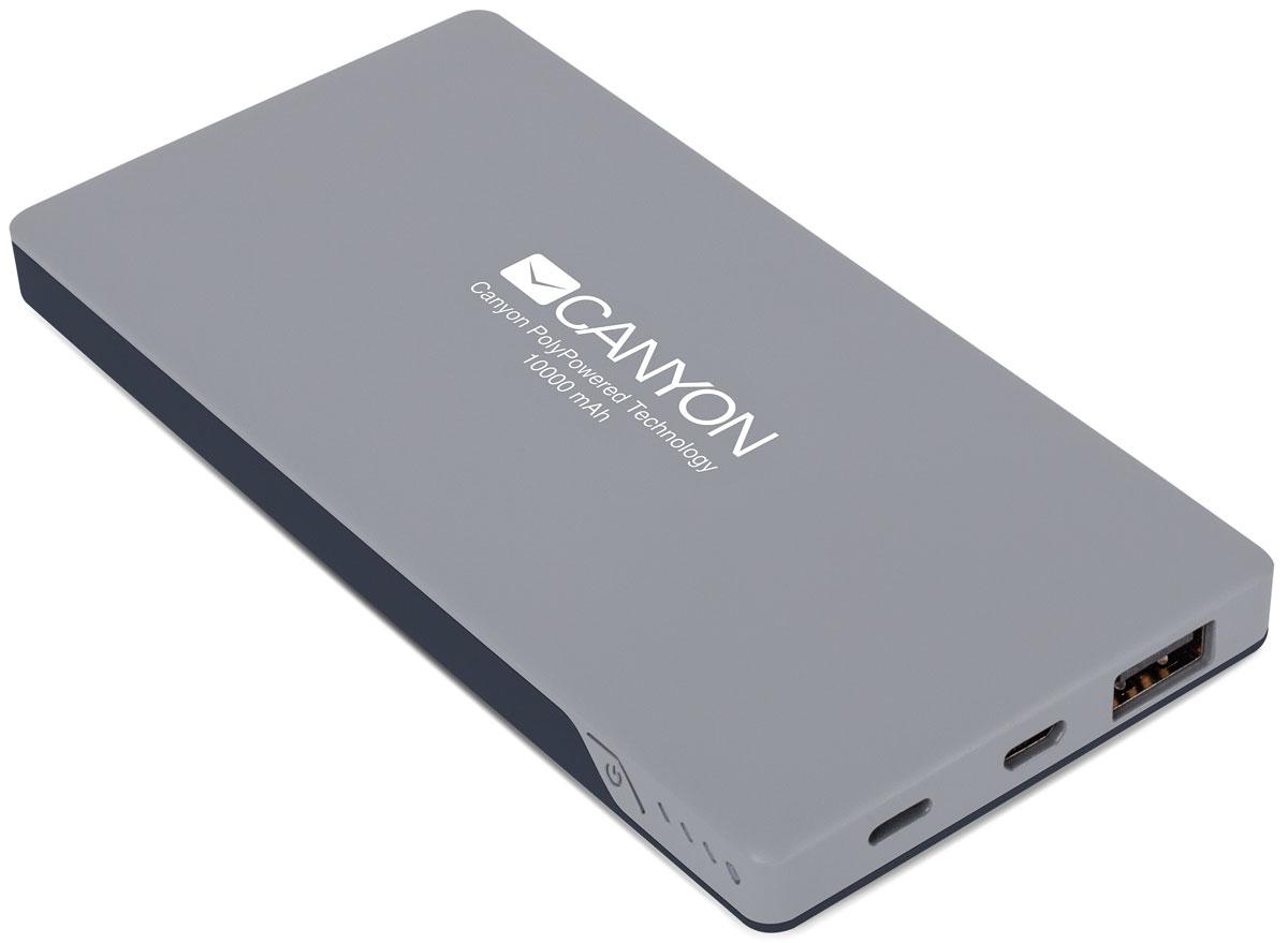 Canyon CNS-TPBP10DG, Dark Gray внешний аккумулятор (10000 мАч)CNS-TPBP10DGCanyon CNS-TPBP10DG это настоящая находка для владельцев iPhone! Этот ультратонкий литий-полимерный внешний аккумулятор оснащен входом для lightning кабеля а значит вам не нужно носить два провода: mini-USB для зарядки аккумулятора и lightning для зарядки iPhone. Аккумулятор такой маленький и тонкий, что вы просто не почувствуете его в вашем кармане или сумке. емкости батареи должно хватить на 4 цикла заряда среднестатистического смартфона. По сравнению с обычными литий-ионными, литий-полимерные батареи тоньше, легче и меньше теряют заряд. Наслаждайтесь преимуществами новых технологий!