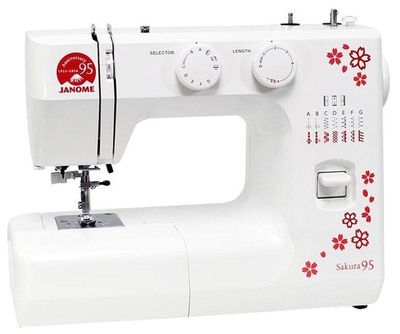 Janome Sakura 95 швейная машинаSakura 95Швейная машина Janome Sakura 95 выпущена к 95-летию известной фирмы. Данная модель сочетает в себе превосходную функциональность и легкое управление, чем завоевала сердца уже многих покупателей. В швейной машине Janome Sakura 95 имеется хорошая подсветка, благодаря которой удобно работать в любое время суток, а также регуляторы длины и ширины стежка, и натяжения верхней нити. Простая в использовании швейная машина идеально подходит для начинающих. Хорошо работает со всеми видами тканей.