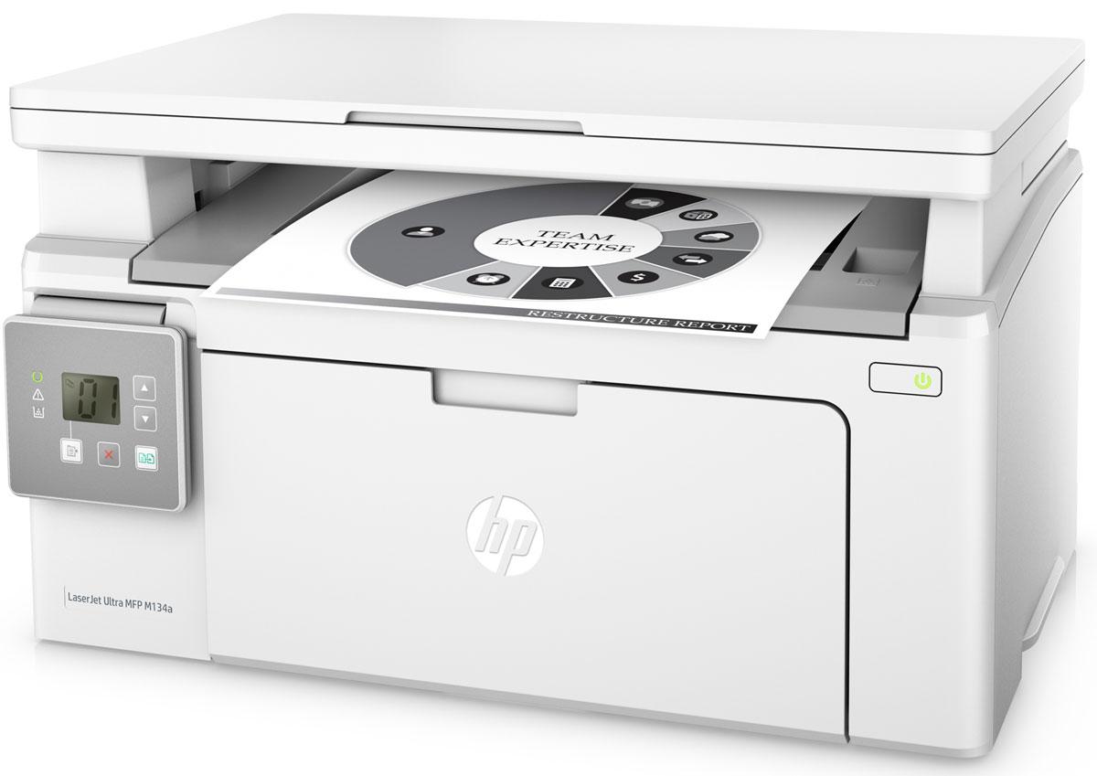 HP LaserJet Ultra M134a МФУG3Q66A#B09Оцените преимущества экстремально низкой стоимости печати и высокой производительности МФУ HP LaserJet Ultra M134, которое поставляется с тремя картриджами для печати до 6900 страниц. Печатайте документы с постоянным профессиональным качеством, не выходя за рамки бюджета.Стоимость печати одной страницы на HP LaserJet Ultra в 4 раза ниже по сравнению с моделями предыдущего поколения. Благодаря предварительно установленному картриджу HP вы сможете приступить к печати сразу после распаковки принтера.Это МФУ объединяет в себе возможности печати, сканирования и копирования, при этом занимает совсем немного места. Вам не придется долго ждать - печать до 22 страниц в минуту, печать первой страницы всего за 7,3 секунды.Экономьте электроэнергию благодаря технологии HP Auto-On/Auto-Off. Управляйте заданиями напрямую на принтере. Для удобства он оснащен двухстрочным ЖК-дисплеем.Подключайте лазерный принтер HP напрямую к компьютеру через высокоскоростной разъем USB 2.0.Черный тонер обеспечивает высокую контрастность черно-белых текстов, шрифтов и графических изображений. Датчики контроля помогут отслеживать количество обработанных страниц, а специальная технология позволит оптимизировать потребление расходных материалов, чтобы печатать больше.Быстро заменяйте картриджи с автоматическим удалением блокировки и легко открывающимися корпусами.