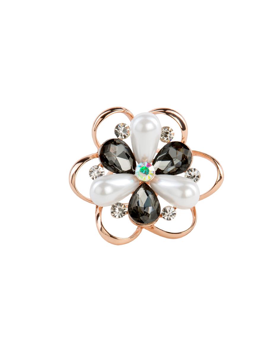 Кольцо для платка Charmante, цвет: белый, графитовый. ZK030ZK030Оригинальное кольцо для платка Charmante выполнено из металла в виде цветка. Кольцо декорировано стразами разной величины и вытянутыми бусинами. Аксессуар с внутренней стороны дополнен кольцами-держателями. Стильное кольцо придаст вашему образу изюминку и подчеркнет индивидуальность.