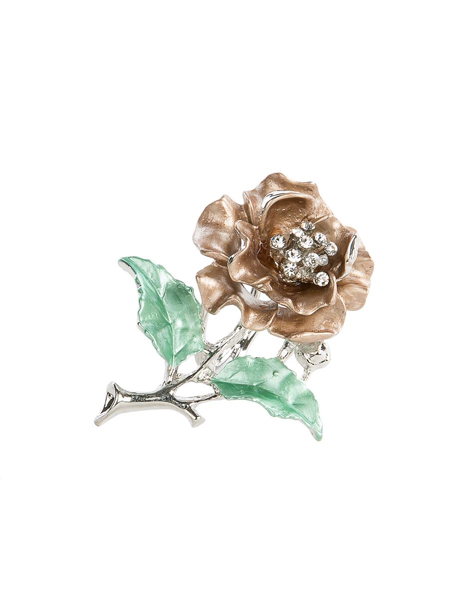 Кольцо для платка Charmante, цвет: серебристый, коричневый, зеленый. ZK0ZK052Оригинальное кольцо для платка Charmante выполнено из металла в виде цветка. Кольцо декорировано блестящими стразами. Аксессуар с внутренней стороны дополнен кольцами-держателями. Стильное кольцо придаст вашему образу изюминку и подчеркнет индивидуальность.
