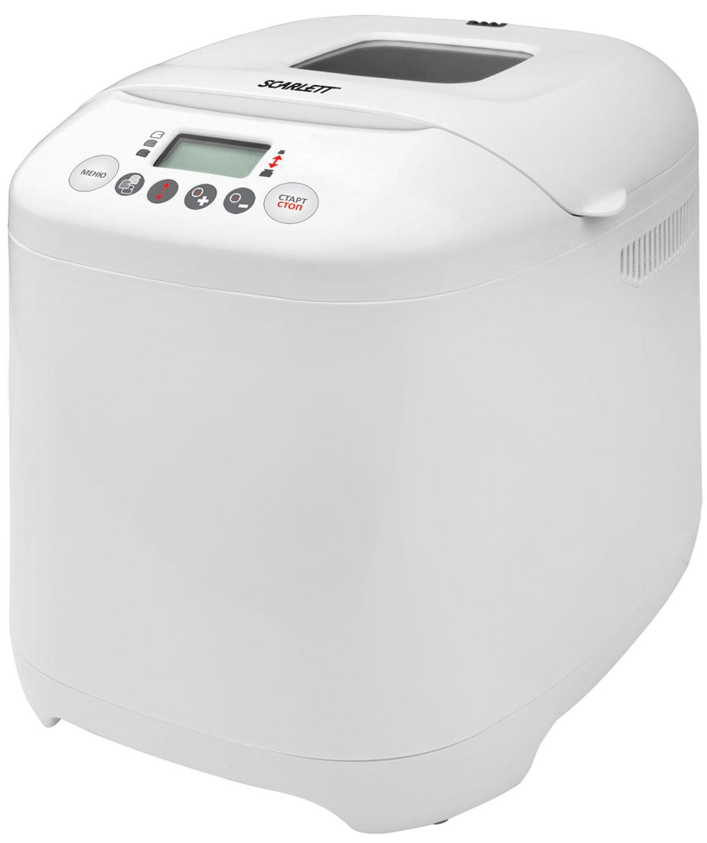 Scarlett SC-400 хлебопечьSC-400Хлебопечка Scarlett SC-400 предлагает пользователю 16 рецептов хлеба, а также специальные режимы для приготовления каши и джема. Кроме того, в устройстве предусмотрена функция ускоренной выпечки, которая помогает уменьшить затраты времени, не ухудшая качество готового продукта.Встроенный 13-часовой таймер помогает получить тёплую аппетитную выпечку точно ко времени, когда это будет наиболее удобно для пользователя - например, к завтраку или к приходу гостей. Кроме того, в хлебопечке имеется функция подогрева готового продукта.Устройство не потребует повторной установки всех настроек при перебоях с электроснабжением - оно сохраняет программу в течение 10 минут после отключения питания.Пользователь может выбирать рецепт выпекания хлеба в соответствии со своими предпочтениями - ему доступны режимы, позволяющие получить светлую, среднюю или тёмную корочку.