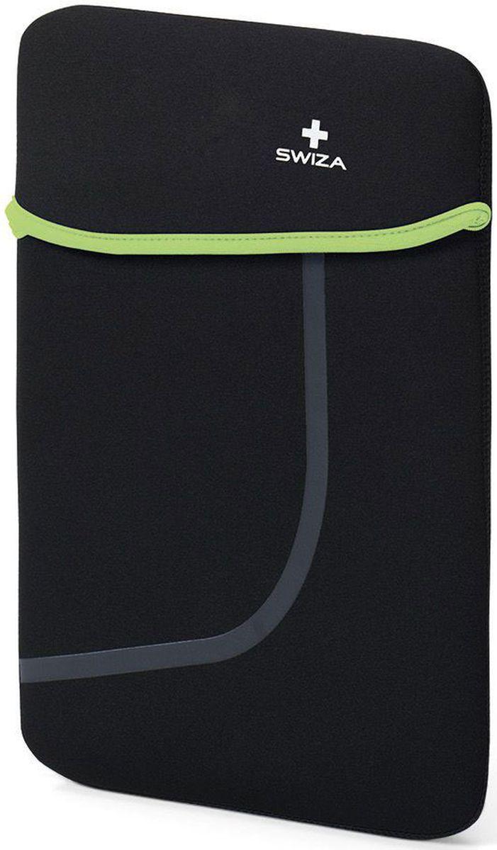 Чехол для планшета SWIZA Moranda, цвет: черный, зеленый, 10BSL.1012.03MORANDA изготовлена из легкого, эластичного и износостойкого неопренового материала, который обеспечивает отличную защиту и практичное использование. Двухсторонний футляр можно использовать, как самостоятельный портфель или положить в другую сумку, как вкладыш