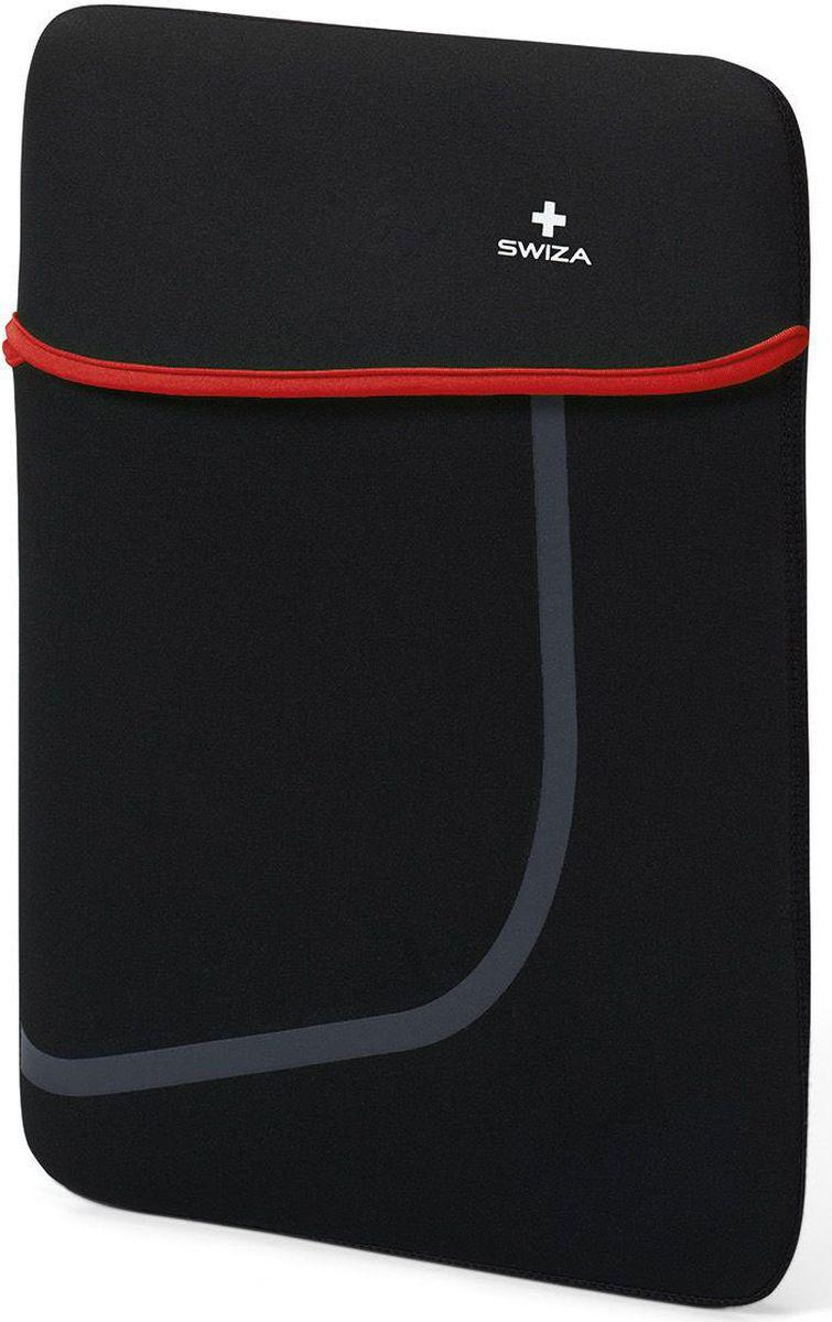 Чехол для планшета SWIZA Moranda, цвет: черный, красный, 15BSL.1014.01MORANDA изготовлена из легкого, эластичного и износостойкого неопренового материала, который обеспечивает отличную защиту и практичное использование. Двухсторонний футляр можно использовать, как самостоятельный портфель или положить в другую сумку, как вкладыш