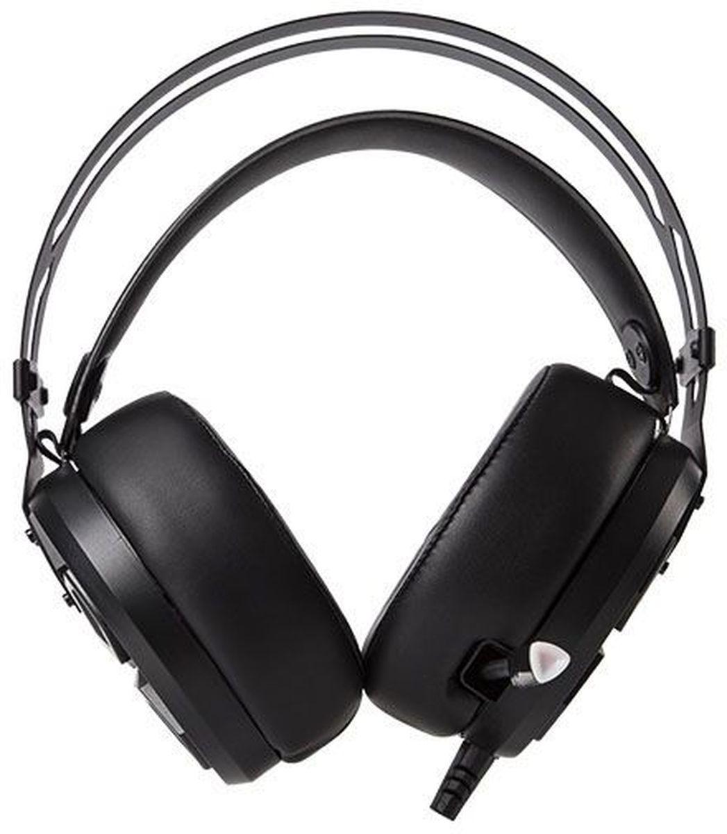 Marvo HG8925, Black игровые наушникиHG8925Тип: стерео Микрофон на гибком подвесе, с возможностью убрать в корпус Тип микрофона: динамический Интерфейс подключения: 2x3.5 мм + USB Регулятор громкости Амбушюры: экокожа Подсветка: чашек и микрофона Кабель: в армированной виниловой оплетке, 2,3 м Особенности: великолепное качество звучания, металлическое оголовье