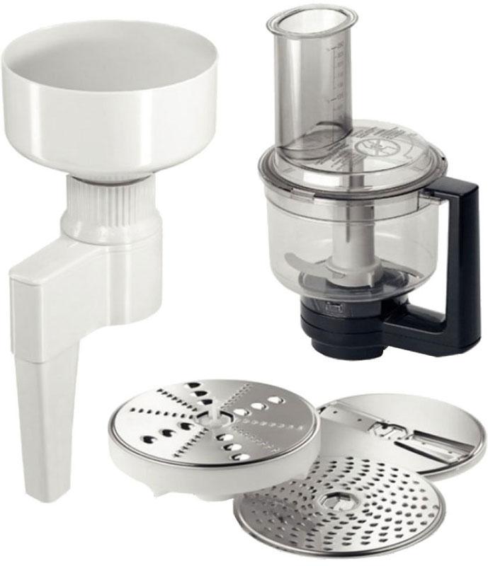 Bosch MUZXLVE1 комплект насадок для кухонных комбайновMUZXLVE1Набор насадок Bosch MUZXLVE1 для настоящих гурманов и экспериментаторов. Он содержит в себе мультимиксер с ножом-крыльчаткой и 3 режущими дисками, а также мельницу для помола зерна. Мельница для зерна с жерновами из нержавеющей стали для любого типа зерен (кроме кукурузы). Помол осуществляется непосредственно в рабочую чашу. Бесступенчатая регулировка степени помола. Вместимость загрузочной воронки мельницы: 750 грамм зерен. Мультимиксер состоит из двустороннего диска-терки (крупная/мелкая), двустороннего диска-шиновки (крупная/мелкая), терки для сыра твердых сортов, шоколада и ножа-крыльчатки. Нож и диски из нержавеющей стали. Имеется крышка с загрузочным отверстием и толкателем. Возможность колки льда и измельчения замороженных овощей и фруктов. Высокая надежность посредством блокировки крышки чаши.