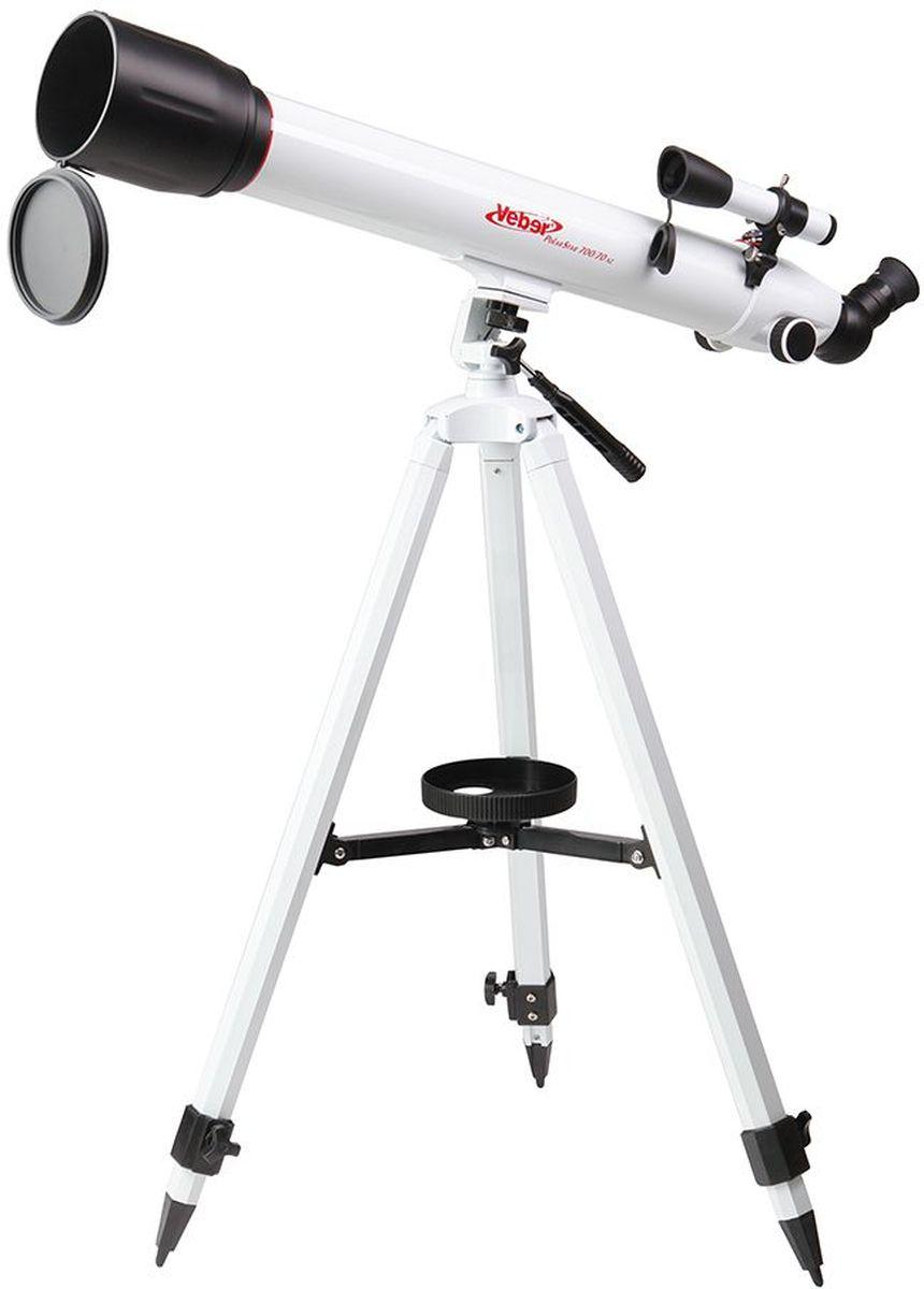 Veber 700/70 AZ PolarStar телескоп23261Телескоп Veber Polar Star 700/70 AZ - это линзовый телескоп (рефрактор), который дает четкое и контрастное изображение, хорошо подходит для путешествий. Ахроматический объектив диаметром 70 мм с просветлением, собирает в два раза больше света, чем 50 мм и позволяет наблюдать не только небесные, но и земные объекты. Картинка резкая, без окрашенности изображения по краю поля зрения. В этот телескоп вы сможете увидеть детали на дисках планет, кратеры Луны размером 5x6 км, многие туманности и звездные скопления (вплоть до 12 м звездной величины). Для земных наблюдений рекомендуется использовать окуляр К-20, с которым увеличение телескопа будет 35x, при этом ближняя точка фокусировки составит 12,5 м. Этот телескоп дает прямое (не перевернутое) изображение. Наличие в окулярном блоке оборачивающей призмы (а не диагонального зеркала, как в аналогичных моделях других фирм), делает изображение не зеркальным (где левое и правое меняются...