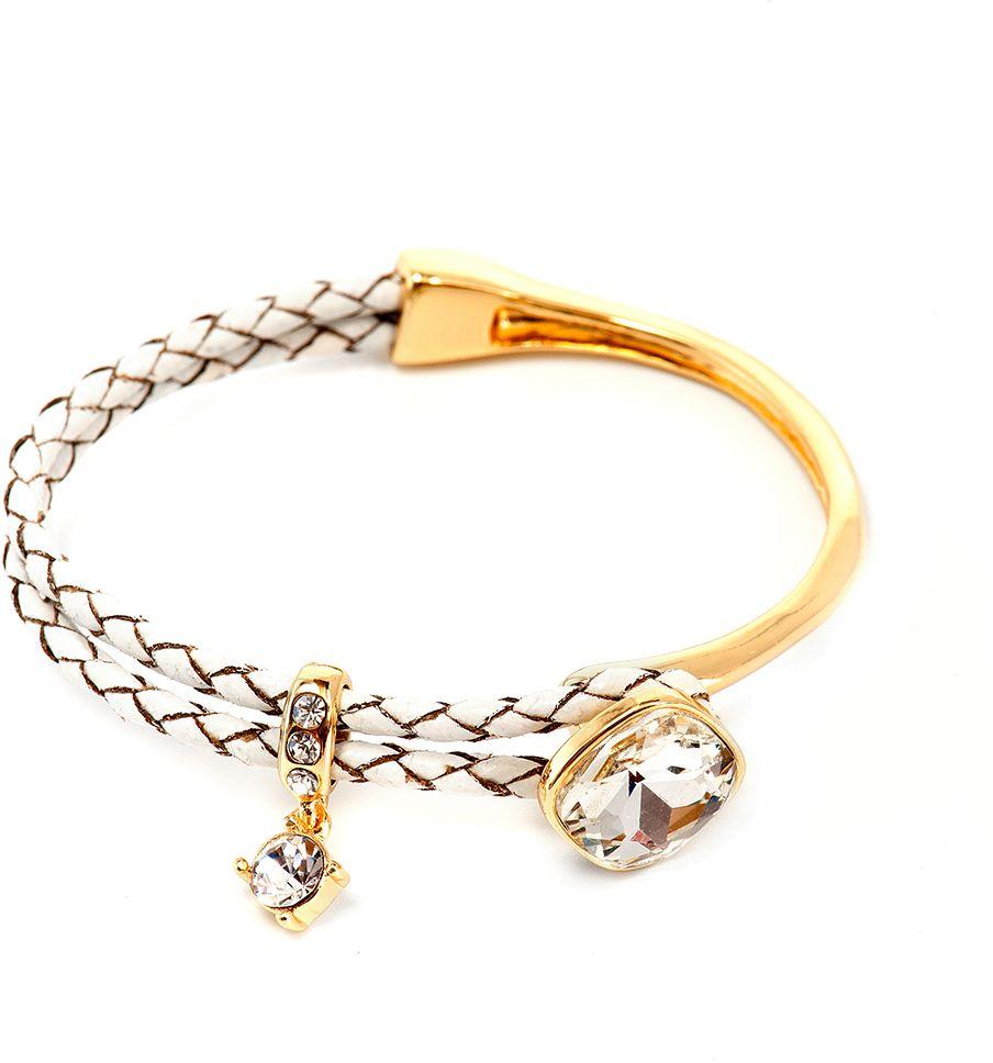 Браслет Selena, цвет: белый, золотой. 40062090Глидерный браслетЭлегантный браслет Selena изготовлен из металлического сплава и натуральной кожи. Браслет дополнен подвижной подвеской со стразами и кристаллом. Крупный декоративный элемент с кристаллом, расположенный в центре, придает браслету особую уникальность. Гальваническое покрытие - желтое золото.