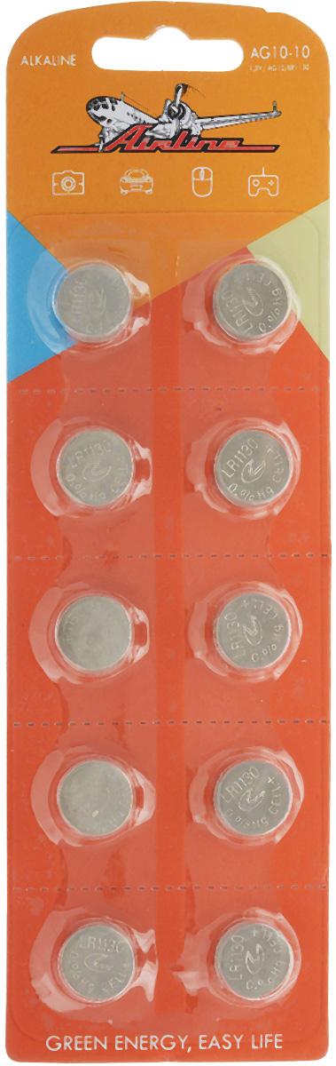 Набор алкалиновых батареек Airline, тип AG10/LR1130, 10 штAG10-10Щелочные (алкалиновые) батарейки Airline оптимально подходят для повседневного питания многочисленной мелкой и среднегабаритной техники. Батарейки прошли многоуровневый контроль качества и не содержат ртути и кадмия. Работают в 10 раз дольше, чем обычные солевые элементы питания. В комплект входят 10 батарейки типа AG10/LR1130. Диаметр батарейки: 1,1 см.