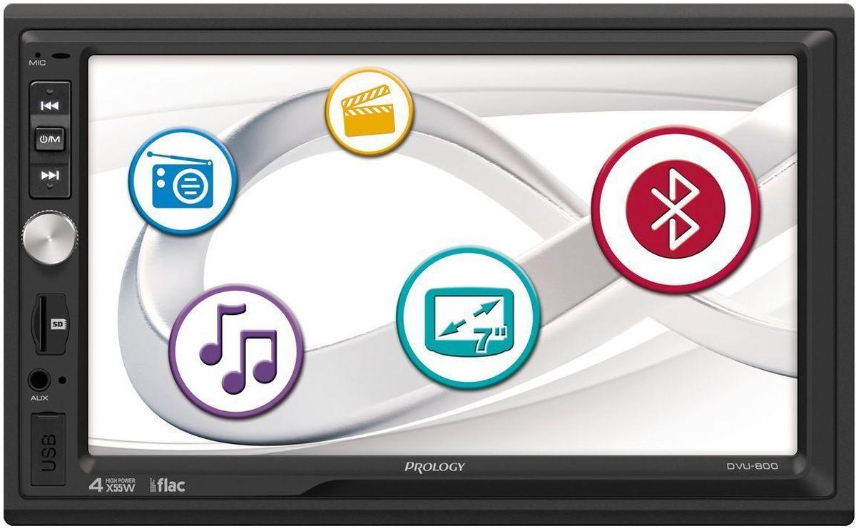 Prology DVU-800, Black автомагнитола4607940900542Мультимедийный центр с дружественным пользовательским интерфейсом. Полноценно поддерживается работа с картами памяти SD. Встроенные разъёмы USB. Имеется возможность подключения камеры заднего вида. 2 DIN, дисплей 7 дюймов, разрешение экрана 800х480, USB, SD, MP3 , MPEG 4 , DIVx, WMA, JPEG, MKV, FLV, FLAC, ID3, FM/AM
