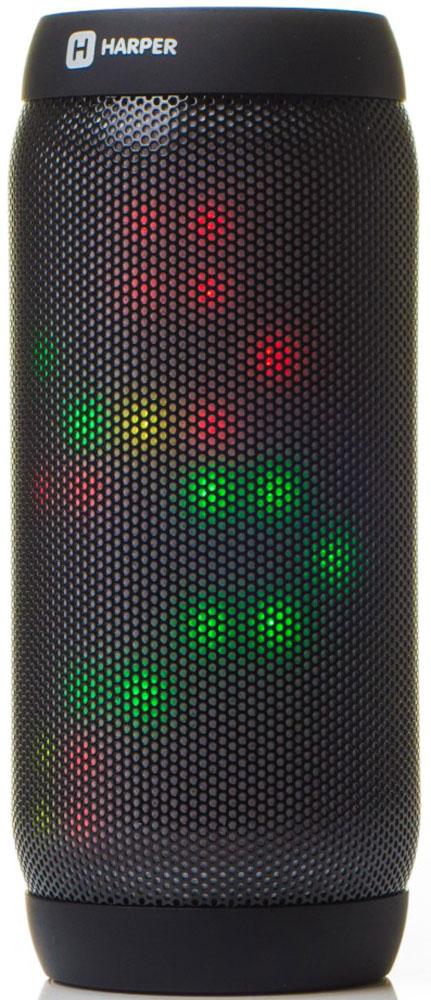 Harper PS-055, Black колонка портативнаяH00001116Беспроводная колонка Harper PS-055 оборудована множеством светодиодов для создания эффекта светомузыки. В программе визуализации спектра музыки заложено 4 различных режима работы эквалайзера.Колонка Harper PS-055 сопрягается с большинством современных смартфонов, планшетов, ноутбуков и других устройств по беспроводному каналу связи Bluetooth версии 3.0, который обеспечивает устойчивую передачу данных на удалении до 10 метров от источника сигнала.Благодаря беспроводному подключению и наличию встроенного микрофона, Harper PS-055 может использоваться в качестве телефонной гарнитуры.Помимо указанных режимов работы, Harper PS-055 может воспроизводить музыкальные файлы с карт памяти формата MicroSD (TF), поддерживаются файлы WAV, MP3, WMA. Возможно проводное подключение к источнику звука посредством стандартного кабеля AUX с разъемом 3,5 мм mini-jack.Еще одна функция – работа в режиме радиоприемника FM-диапазона. Имеется возможность автоматического поиска радиостанций с последующим запоминанием и переключением между ними.Для упрощения подключения к смартфону на корпусе имеется ТАС-метка (работает только с устройствами, оснащенными NFC-считывателями).Встроенного аккумулятора на 2000 мАч хватает почти на 8 часов использования устройства.