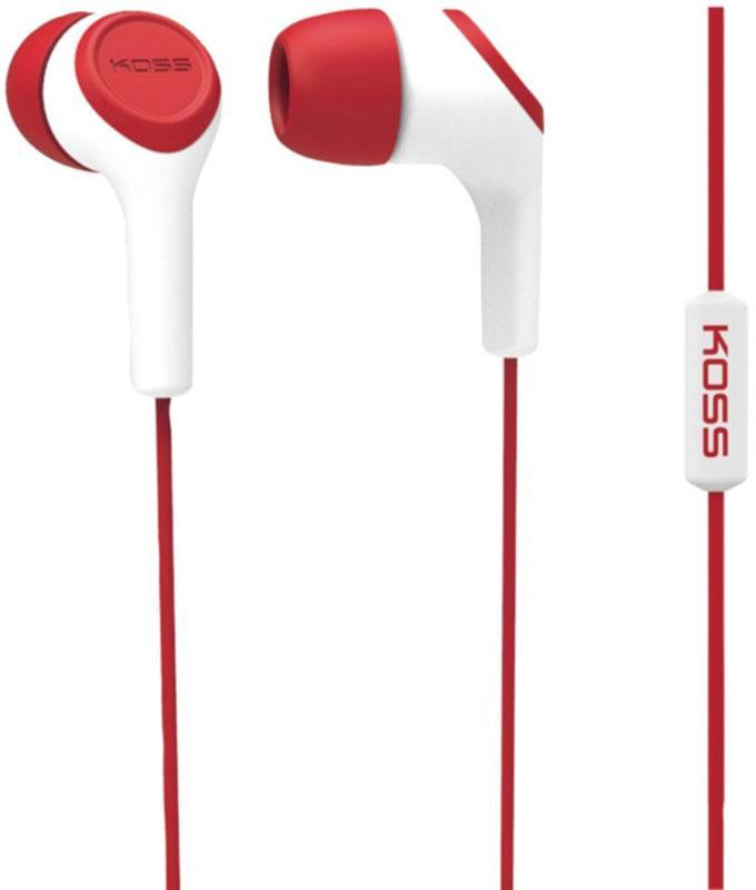 Koss KEB15i, Red наушники10102306Koss KEB15i - портативные наушники-вставки с функцией гарнитуры, разработанные на базе известной модели KEB15. Модель сочетает в себе стильный дизайн и легендарное качество Koss. Звукоизолирующие силиконовые амбушюры, расположенные под углом к чашкам, обеспечивают высокий уровень звукоизоляции и максимально комфортное прилегание к ушному каналу. Конструкция штекера с полужёстким сочленением увеличивает срок жизни шнура, оберегая его от повреждений. Максимум комфорта, стильный дизайн, большой выбор цветов Удобный штекер с углом 135 градусов Три вида амбушюр в комплекте
