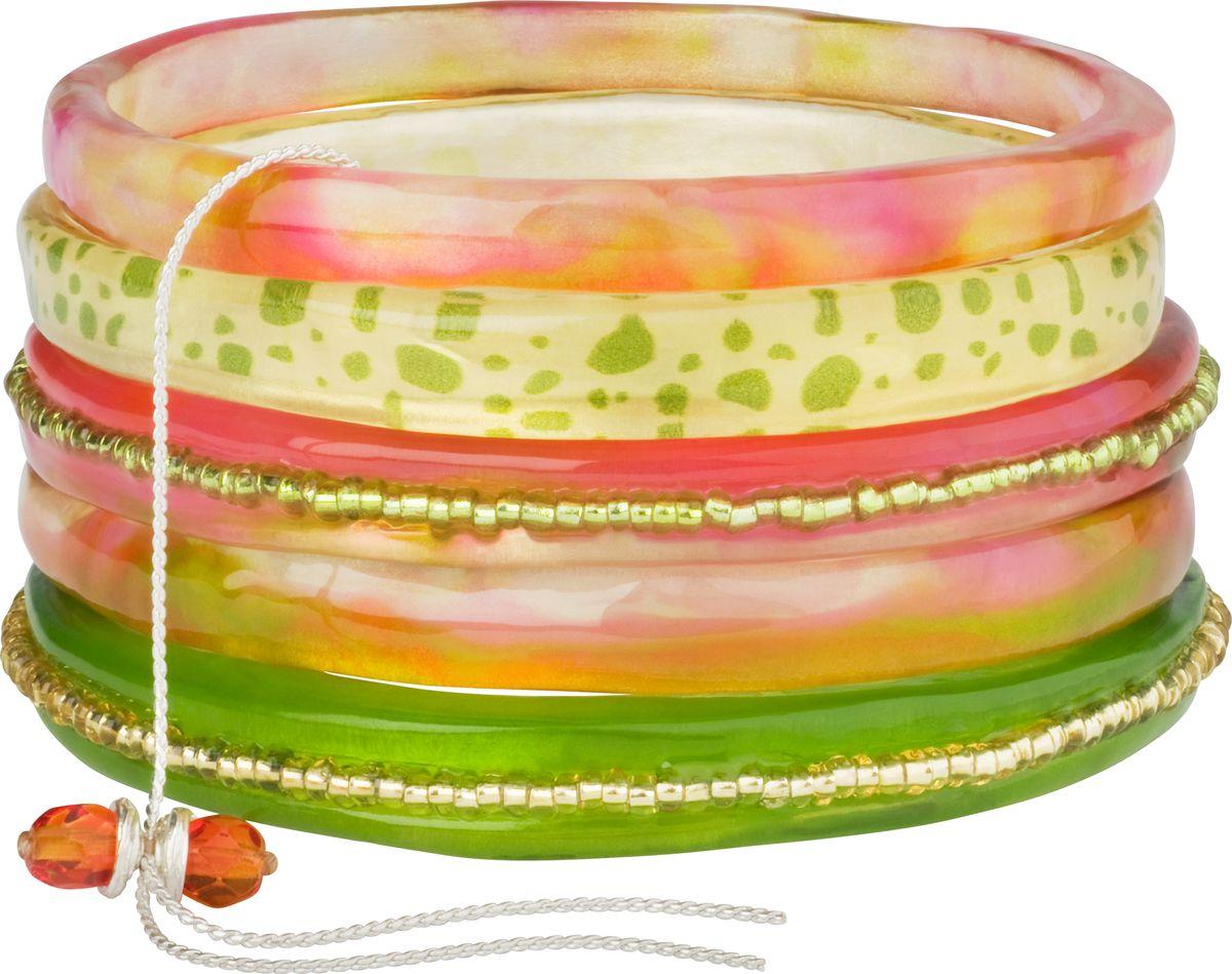 Браслет Lalo Treasures, цвет: зеленый, розовый. Bn2514Bn2514Оригинальный браслет Lalo Treasures выполнен из ювелирной смолы и металлического сплава. Декоративные элементы собраны на металлическую цепочку с бусинами. Стильное украшение поможет дополнить любой образ и привнести в него завершающий яркий штрих.