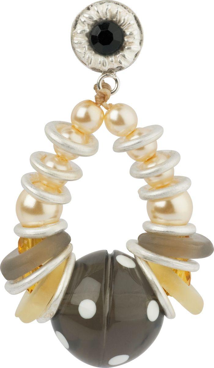 Серьги Lalo Treasures, цвет: серый, светло-коричневый. E3464/4Серьги с подвескамиОригинальные серьги Lalo Treasures изготовлены из металлического сплава, дополнены декоративными элементами из ювелирной смолы.Изделие застегивается на замок-гвоздик с заглушкой, который надежно зафиксирует серьги.Стильные серьги не оставят равнодушной ни одну любительницу изысканных украшений и помогут создать собственный неповторимый образ.