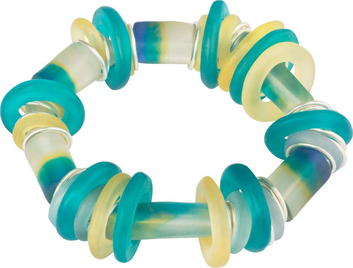 Браслет Lalo Treasures, цвет: бирюзовый, желтый. B2504/2B2504/2Оригинальный браслет Lalo Treasures выполнен из ювелирной смолы и металлического сплава. Декоративные элементы собраны на эластичной резинке, с помощью которой браслет растягивается до необходимого размера. Стильное украшение поможет дополнить любой образ и привнести в него завершающий яркий штрих.