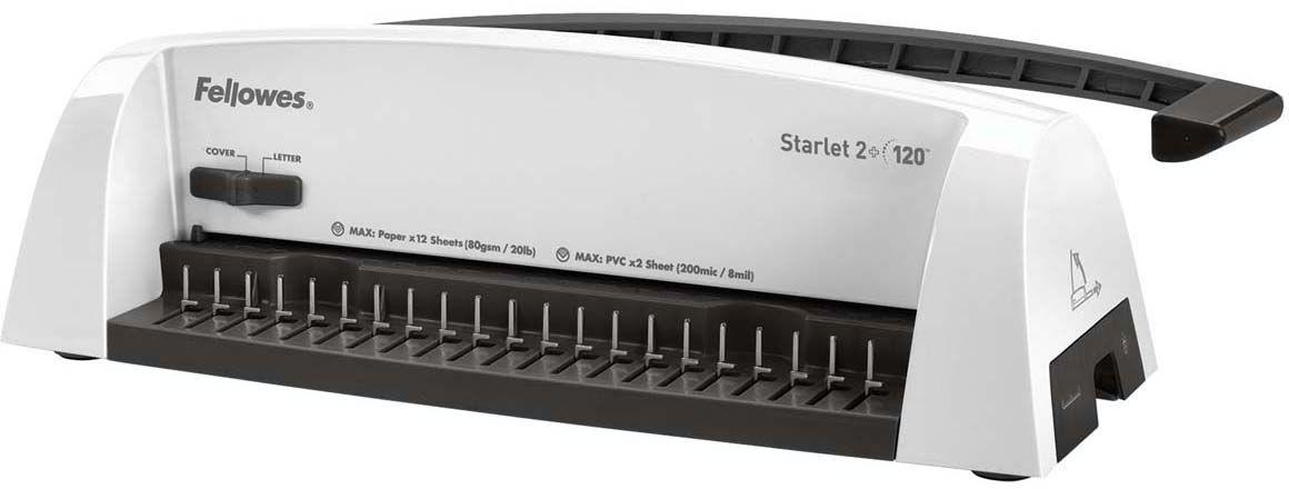 Fellowes Starlet 2+ переплетчикFS-52279Переплетчик предназначен для использования в небольшом или домашнем офисе. Максимальное количество листов в брошюре -120, что соответствует пружине 16 мм.Количество перфорируемых листов увеличилось на 2 и теперь составляет 12 листов. Перфорация не представляет никакого труда благодаря использованию удлиненной ручки под удобный хват ладониОсновные характеристики:Кол-во сшиваемых листов: 120 шт.Кол-во пробиваемых листов: 12 шт.Диапазон диаметра пружины: 6-16 мм.Гарантия: 2 года.Брошюровщик оснащен технологиями, которые ускорят и упростят переплет документов: Автоматические створки лотка для отходов: При переполнении лотка для отходов створка лотка автоматически открывается, что сигнализирует о необходимости его опустошения. Селектор формата: Точное выравнивание листов различных форматов по краю. Селектор диаметра пружин и толщины документа: Простой подбор пружины по толщине документа.