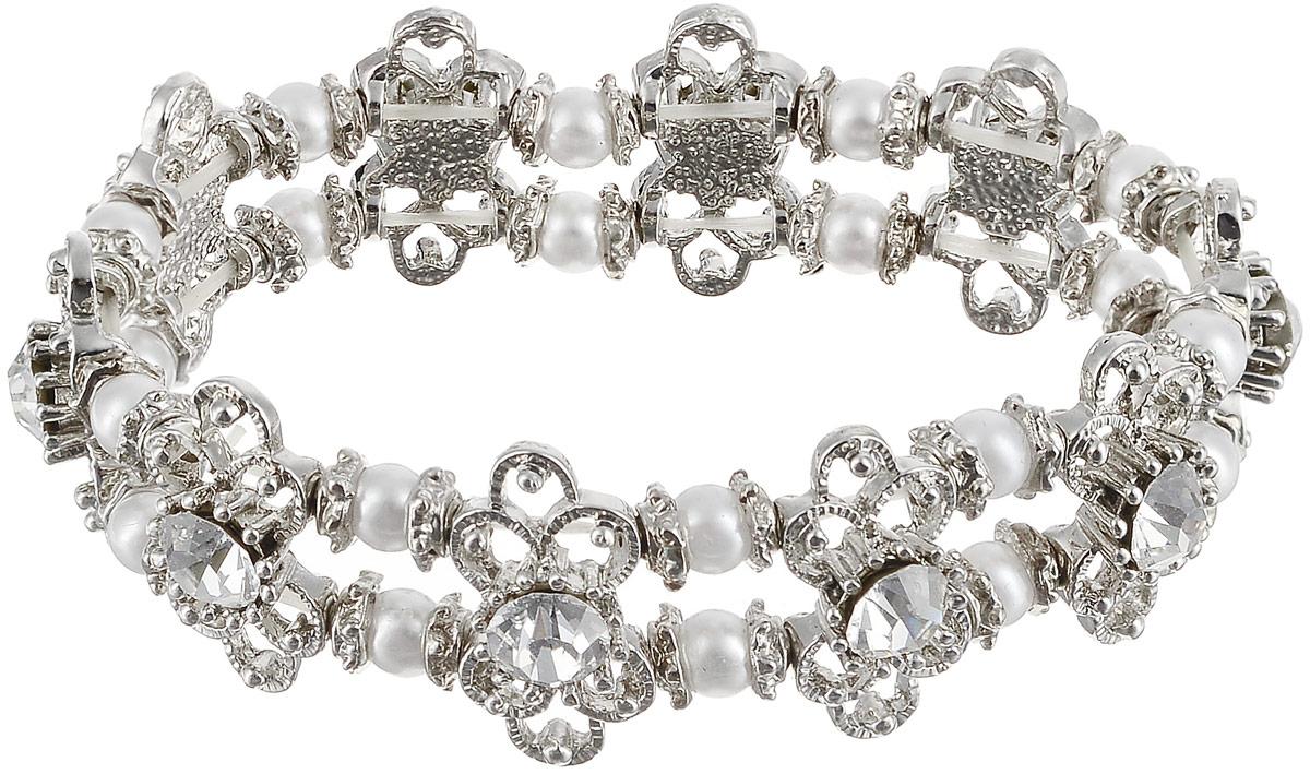 Браслет женский Art-Silver, цвет: серебряный. 11226-454Глидерный браслетРоскошный браслет Art-Silver выполнен из бижутерного сплава, дополнен вставками из жемчуга и циркона. Модель на эластичной резинке.