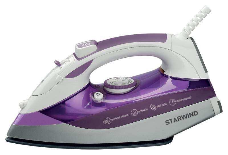 Starwind SIR8917, Purple утюгSIR8917Современный утюг Starwind SIR8917 мощностью 2500 Вт облегчит уход за одеждой и безусловно порадует вас своими поистине безграничными возможностями. Подошва утюга с керамическим покрытием обеспечивает идеальное скольжение и избавит ваши вещи даже от самых сложных складок. Прибор обладает всеми необходимыми характеристиками для отличного результата: сухое глажение, функция разбрызгивания, возможность вертикального отпаривания. Модель оснащена функцией самоочистки и противокапельной системой. Мерный стакан в комплекте