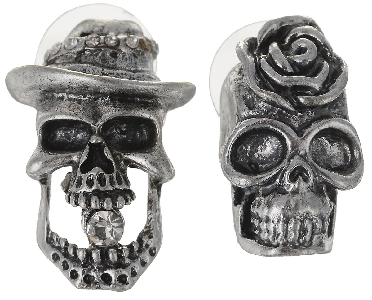 Серьги Art-Silver, цвет: серебряный. 34154-41834154-418Серьги Art-Silver выполнены из бижутерного сплава. Декоративный элемент в виде черепа дополнена вставками из циркона. Изделие застегивается с помощью замка-гвоздика с заглушкой.
