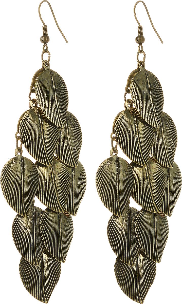 Серьги Art-Silver, цвет: золотой. 03801105-24203801105-242Серьги Art-Silver выполнены из бижутерного сплава с позолотой. Декоративный элемент выполнен в виде листиков. Изделие застегивается с помощью замка-петли.