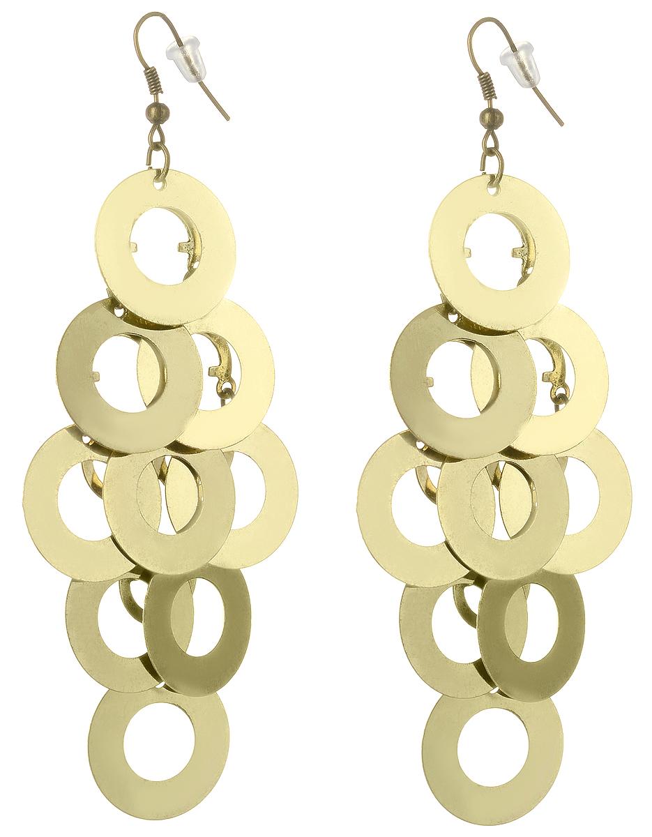 Серьги Art-Silver, цвет: золотой. 03801106-24403801106-244Серьги Art-Silver выполнены из бижутерного сплава с позолотой. Декоративный элемент выполнен множества колец. Изделие застегивается с помощью замка-петли.