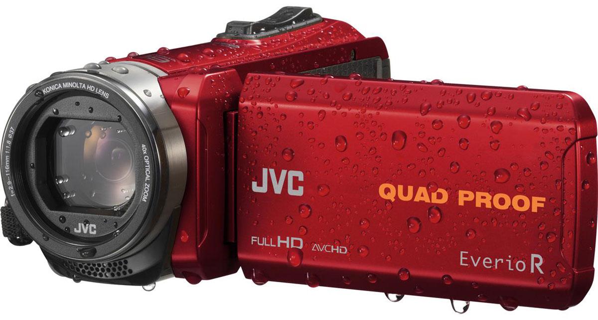 JVC GZ-R435REU, Red цифровая видеокамераGZ-R435REUJVC GZ-R435REU - видеокамера с 4 степенями защиты Quad-Proof, встроенным аккумулятором, который обеспечит работу камеры до 5 часов и встроенной флеш-памятью объемом 4 Гб.Данная модель оснащена КМОП сенсором с разрешением 2,5 Мп с обратной подсветкой, 40-кратным оптическим зумом и системой стабилизации изображения.Видеокамера поддерживает запись при закрытом ЖК экране, а также оснащена резьбой 37 мм для установки светофильтров или широкоугольного конвертора.Модель водонепроницаема при погружении на глубину до 5 м. После активного дня, проведённого на свежем воздухе, её можно вымыть под проточной водой.Прочный корпус выдерживает падение с высоты до 1,5 м. Он защищён от влаги и пыли и рассчитан на работу в широком диапазоне температур.Аккумулятор встроен внутрь корпуса, что обеспечивает ещё более высокую защиту от влаги и позволяет существенно сократить опасность повреждения видеокамеры при замене батарей в плохую погоду.