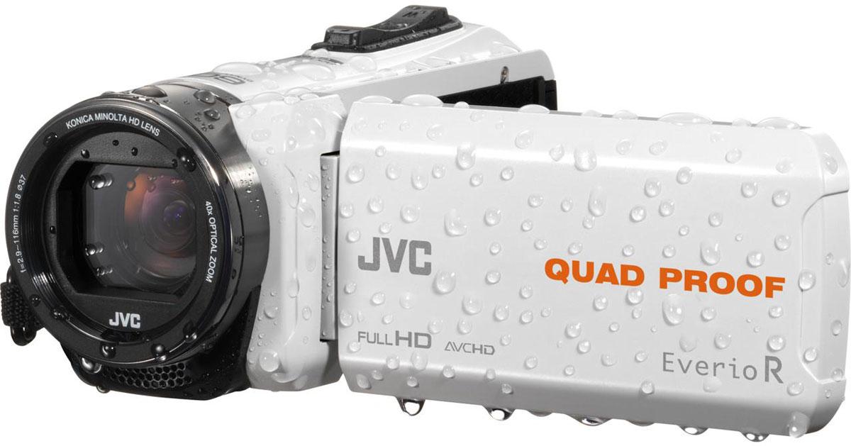 JVC GZ-R435WEU, White цифровая видеокамераGZ-R435WEUJVC GZ-R435WEU - видеокамера с 4 степенями защиты Quad-Proof, встроенным аккумулятором, который обеспечит работу камеры до 5 часов и встроенной флеш-памятью объемом 4 Гб. Данная модель оснащена КМОП сенсором с разрешением 2,5 Мп с обратной подсветкой, 40-кратным оптическим зумом и системой стабилизации изображения. Видеокамера поддерживает запись при закрытом ЖК экране, а также оснащена резьбой 37 мм для установки светофильтров или широкоугольного конвертора. Модель водонепроницаема при погружении на глубину до 5 м. После активного дня, проведённого на свежем воздухе, её можно вымыть под проточной водой. Прочный корпус выдерживает падение с высоты до 1,5 м. Он защищён от влаги и пыли и рассчитан на работу в широком диапазоне температур. Аккумулятор встроен внутрь корпуса, что обеспечивает ещё более высокую защиту от влаги и позволяет существенно сократить опасность повреждения видеокамеры при замене батарей в плохую погоду.