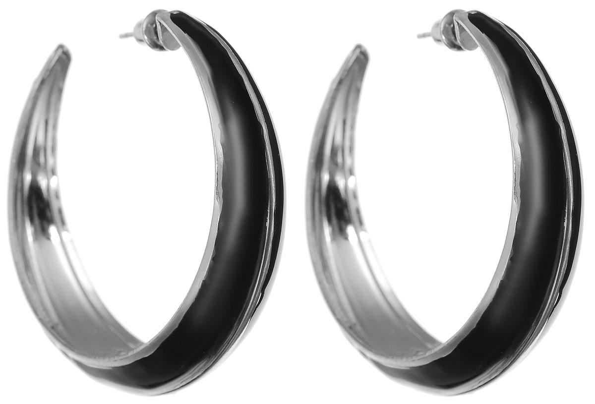 Серьги Art-Silver, цвет: черный. 33999-25033999-250Серьги Art-Silver изготовлены из бижутерного сплава и выполнены в виде объемных колец со вставками из эмали. Изделие застегивается с помощью замка-гвоздика.
