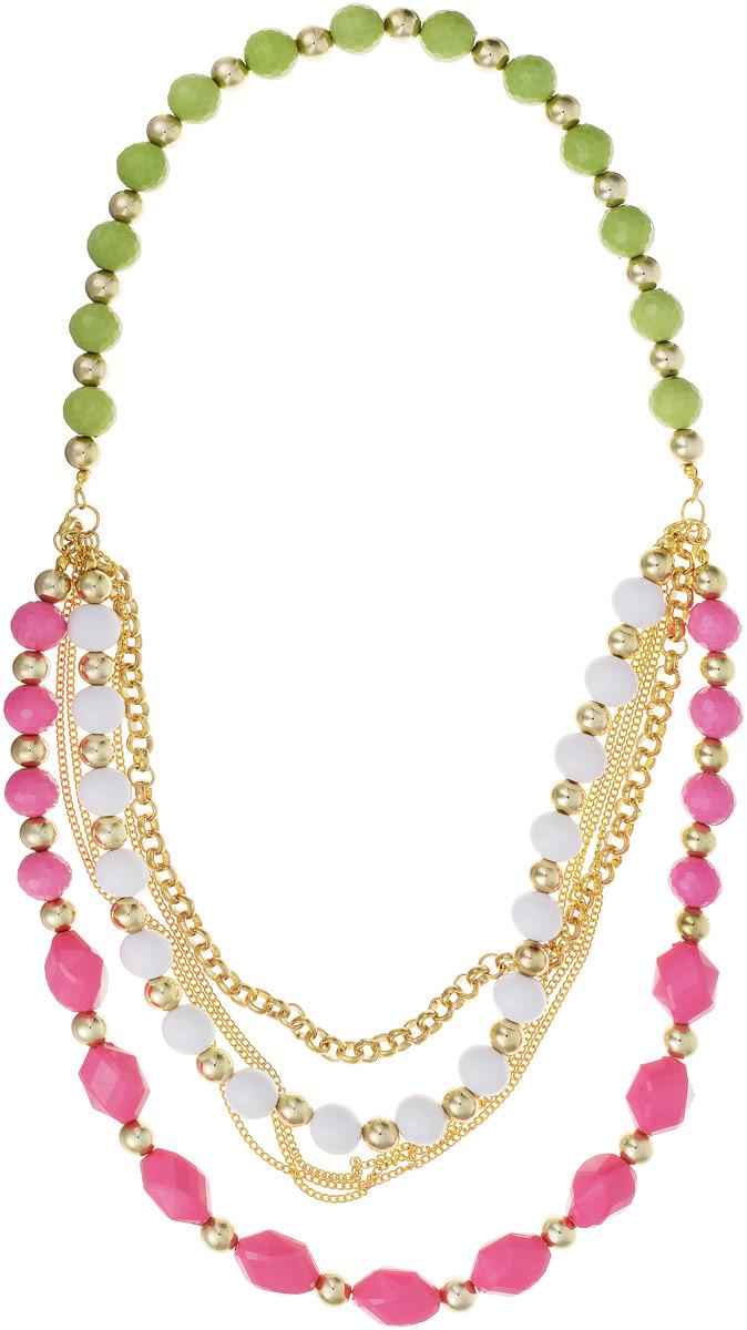 Колье Art-Silver, цвет: золотой, розовый, салатовый. 08807925-466Колье (короткие одноярусные бусы)Колье Art-Silver изготовлено из высококачественного бижутерного сплава и пластика. Изделие представляет собой цепочки разного размера, оформленные крупными бусинами.