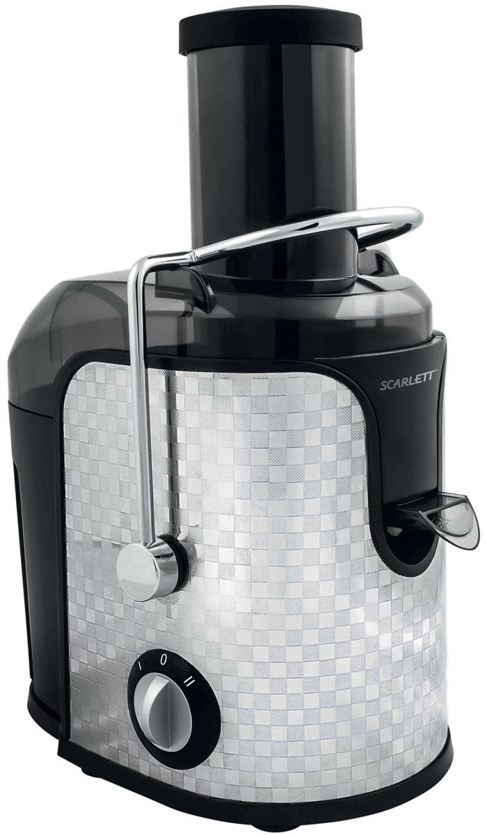 Scarlett SC-JE50S11 Checkers соковыжималкаSC-JE50S11_CСоковыжималка Scarlett SC-JE50S11 - это отличный вариант для приготовления свежевыжатого сока каждый день. Она предназначена для отжима сока из любых овощей и фруктов. Модель оснащена удобным загрузочным лотком диаметром 75 мм с возможностью отжимать сок из целых плодов, не очищая и не разрезая их на части. Две скорости работы предназначены для мягких и более твердых плодов. Титановое покрытие Durable Titanium сетчатого фильтра для сока гарантирует длительный срок службы прибора, а также способствует сохранению витаминов и ферментов в соке благодаря химической нейтральности к натуральным кислотам. Сливной носик с блокировкой подачи сока Автоматическая блокировка Отделка корпуса из нержавеющей стали