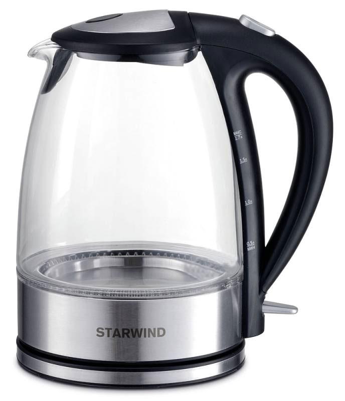 Starwind SKG7650, Black Silver чайник электрическийSKG7650Электрический чайник Starwind SKG7650 прост в управлении и долговечен в использовании. При его производстве используются высококачественные материалы. Мощность 2200 Вт быстро вскипятит 1,7 литра воды. Для обеспечения безопасности при повседневном использовании предусмотрена функция автовыключения. Контроллер STRIX