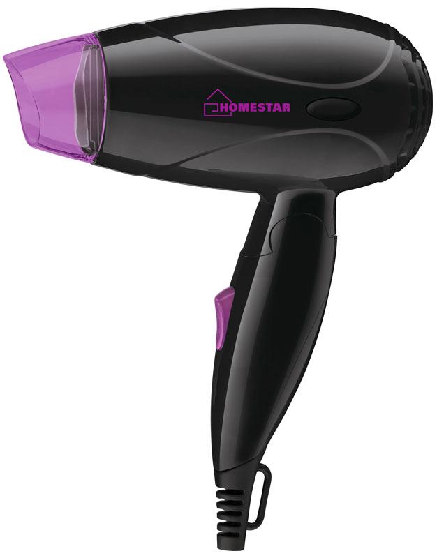 HomeStar HS-8001 фен54 002805Фен HomeStar HS-8001 поможет быстро высушить и красиво уложить волосы любой длины. Данная модель практична и удобна в использовании, оснащена складной ручкой для удобного хранения, защитой от перегрева и петлей для подвешивания. Фен работает в двух режимах интенсивности подачи воздуха.