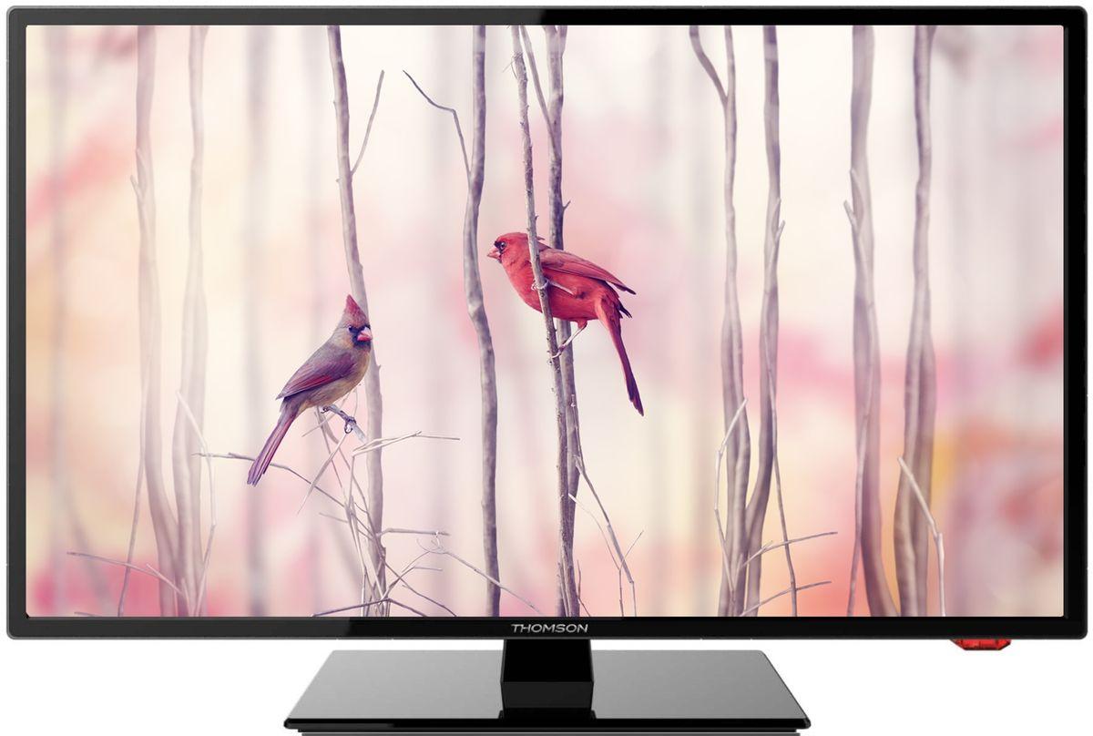 Thomson T24E21DF-01B телевизорT24E21DF-01BТелевизор Thomson T24E21DF-01B с диагональю экрана 24 дюйма оборудован LED подсветкой и поддерживает разрешение Full HD (1920х1080). Оснащен системой динамиков 2.0, выдающих звук общей мощностью 6 Вт. Источником сигнала для качественной реалистичной картинки служат не только цифровые эфирные и кабельные каналы, но и любые записи с внешних носителей, благодаря универсальному встроенному USB медиаплееру. HDMI-порт позволяет подключать современные устройства. Thomson T24E21DF-01B обладает рядом функций, позволяющих добиться наилучшего качества картинки и звука. В их числе шумоподавление. Кроме того, телевизор оснащен удобной функцией TimeShift, благодаря которой при условии подключения к ТВ USB-накопителя, телевизионные трансляции можно ставить на паузу.
