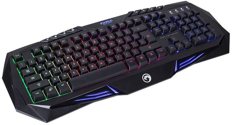 Marvo K614 игровая клавиатураK614Проводная Игровая Клавиатура. Радужная подсветка клавиш; 8 мультимедийных клавиш; Необходимое усилие: 50±7г; Ход клавиш: 3.6±0.3мм; Срок службы: 5 миллионов нажатий