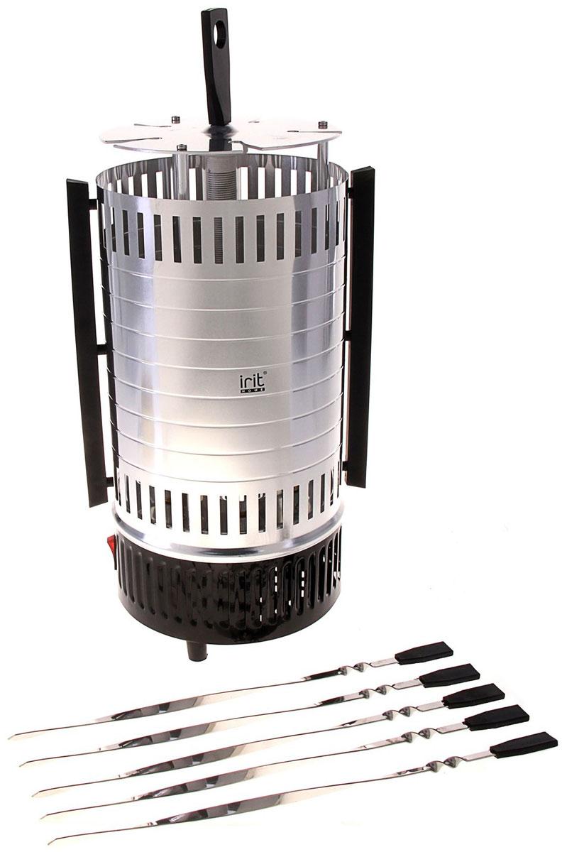 Irit IR-5150 электрошашлычница79 01960Электрошашлычница Irit IR-5150 позволит побаловать себя вкуснейшим шашлыком в любое время года. При этом на приготовление 5 порций уйдет не более 15-20 минут времени. Специальный металлический кожух выполняет защитную функцию, а также препятствует рассеиванию жара. Нагревательный элемент защищен стеклянной трубкой. В комплекте 5 шампуров и 5 чашечек для сбора сока.