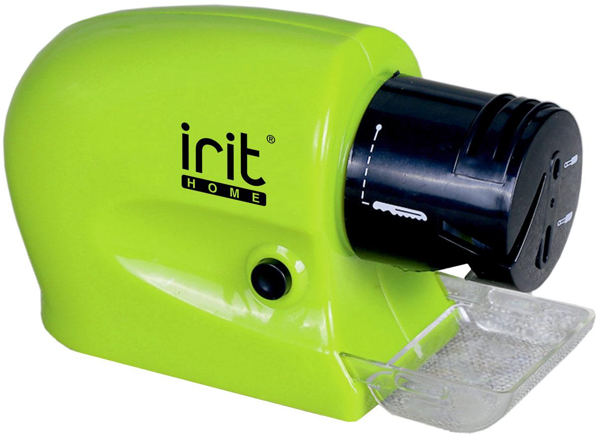 Irit IR-5831 ножеточка электрическая79 02661Ножеточка Irit IR-5831 очень удобна в использовании и не занимает много места. Модель поможет заточить лезвия ножей всего одним движением руки. Работает от 4 батареек АА. Высокая скорость вращения Точильный камень Заточка и хонингование