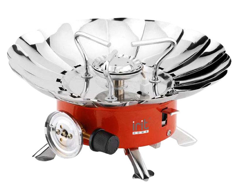 Irit IR-8511 настольная плита79 01631Портативная газовая плитка Irit IR-8511 с пьезоподжигом имеет одну конфорку мощностью 4000 BTU, (1,17 кВт). Расход газа составляет максимум 100 г/ч. В ней используется газ - пропан, бутан. Плитка имеет очень компактные размеры и малый вес. Работает от одноразового газового баллона (в комплект не входит).