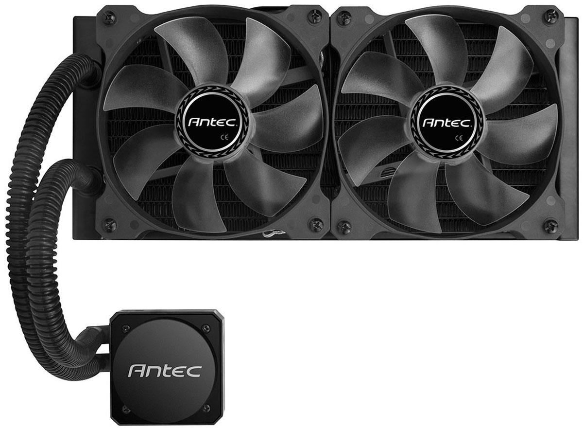 Antec H1200 Pro система охлаждения для процессора0-761345-10900-0Antec H1200 Pro - процессорная система охлаждения, которая отлично подойдет для игрового компьютера. Эта компактная система сочетает в себе высокую эффективность, производительность, и долговечность – заявлено 150000 часов работы. Водоблок имеет крупное медное основание, и он расположен в одном корпусе с помпой. Помпа имеет намоточный трёхфазный двигатель, и способна создать гидростатическое давление столба воды высотой 230 см. За обдув радиаторов жидкостных систем охлаждения отвечают два 120-мм вентилятора, которые оснащены синей светодиодной подсветкой и поддерживают регулировку скорости вращения.