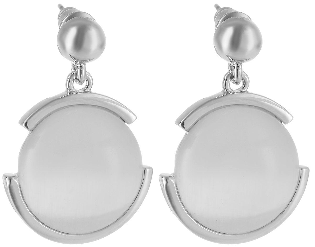 Серьги Art-Silver, цвет: серебряный. 26272-58126272-581Бижутерный сплав, кошачий глаз.
