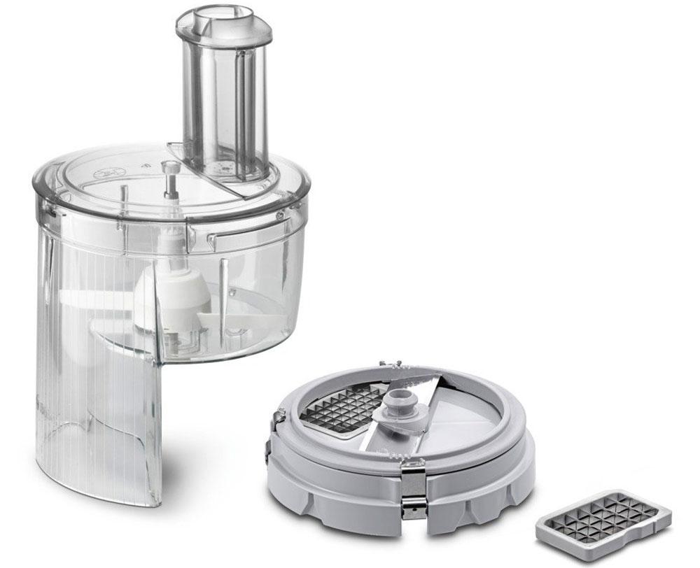 Bosch MUZ5CC2 насадка для нарезки кубиками для кухонных комбайновMUZ5CC2Насадка для нарезки кубиками Bosch MUZ5CC2 - практичное решение для нарезки большого количества продуктов, например для семейных торжеств.На выходе из насадки продукты измельчаются до кубиков с гранями 0,9 - 0,9 или 1,3 - 1,3 сантиметра. Габариты полуфабриката регулируют с помощью сменных модулей, можно выбрать нужный калибр до установки насадки на комбайн.Насадка состоит из нескольких крупных узлов, поэтому её несложно мыть и обслуживать. На кухонный комбайн такая насадка монтируется буквально одним движением руки. Простота конструкции облегчает процесс использования насадки, но не влияет на функциональность изделия.