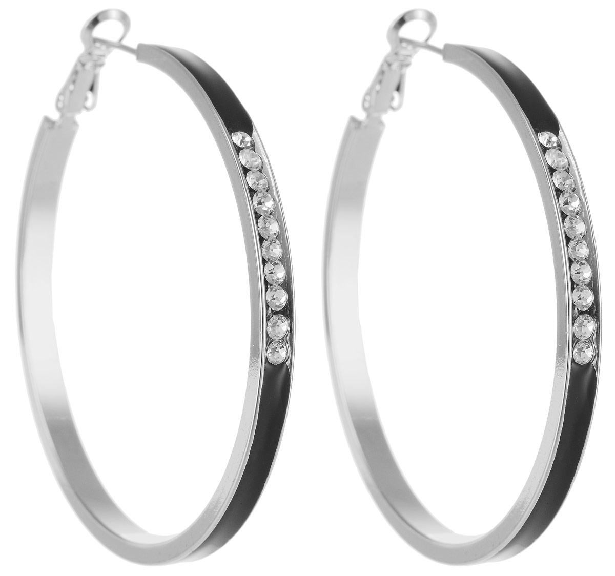 Серьги Art-Silver, цвет: черный. 15527-473Серьги-кольцаСтильные серьги Selena выполнены из латуни с гальваническим покрытием. Серьги оформлены оригинальными декоративными вставками. Такие серьги будут ярким дополнением вашего образа.