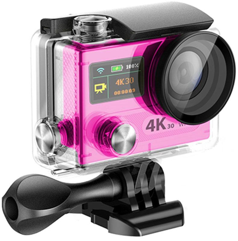 Eken H8R Ultra HD, Pink экшн-камераH8R PINKЭкшн-камера Eken H8R Ultra HD позволяет записывать видео с разрешением 4К и очень плавным изображением до 30 кадров в секунду. Камера имеет два дисплея: 2 TFT LCD основной экран и 0.95 OLED экран статуса (уровень заряда батареи, подключение к WiFi, режим съемки и длительность записи). Эта модель сделана для любителей спорта на улице, подводного плавания, скейтбординга, скай-дайвинга, скалолазания, бега или охоты. Снимайте с руки, на велосипеде, в машине и где угодно. По сравнению с предыдущими версиями, в Eken H8R Ultra HD вы найдете уменьшенные размеры корпуса, увеличенный до 2-х дюймов экран, невероятную оптику и фантастическое разрешение изображения при съемке 30 кадров в секунду! Управляйте вашей H8R на своем смартфоне или планшете. Приложение Ez iCam App позволяет работать с браузером и наблюдать все то, что видит ваша камера. В комплекте с камерой идет пульт ДУ работающий на частоте 2,4 Ггц. Он позволяет начинать и заканчивать съемку удаленно.