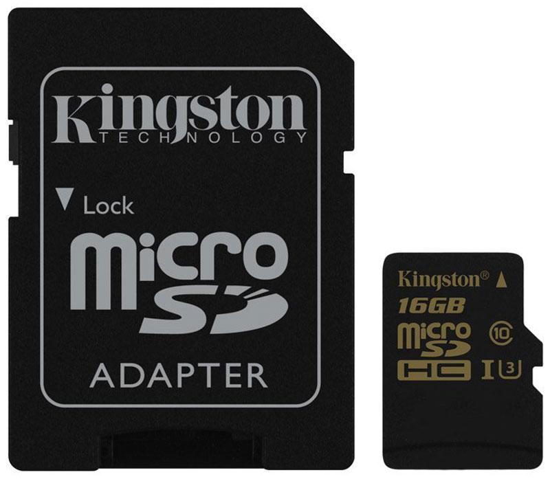 Kingston microSDHC Gold UHS-I Speed Class 3 (U3) 16GB карта памяти с адаптеромSDCG/16GBЕсли вам нужна карта для продолжительной записи видео с помощью дрона, экшн-камеры GoPro или камеры с разрешением Ultra HD, то эта карта памяти подойдет вам лучше всего. Карта памяти Gold microSD UHS-I Speed Class 3 (U3) компании Kingston позволяет снимать видео со скоростью до 30 кадров в секунду в формате 4K и 120 кадров в секунду в формате 1080p. Оцените преимущества быстрой передачи видео на ПК и быстрого редактирования и загрузки видеозаписей, в особенности, при использовании устройств чтения карт памяти с интерфейсом USB 3.0. Увеличенная скорость записи позволяют выполнять непрерывную серийную съемку, а более высокая постоянная скорость записи обеспечивает целостность видео. Карту памяти можно также использовать вместе с дополнительным адаптером для SD-карт для быстрого просмотра видеозаписи на ноутбуке или для использования в камерах с поддержкой карт памяти большего формата. Во время поездок на велосипеде, пешеходных прогулок, гонок или полетов...