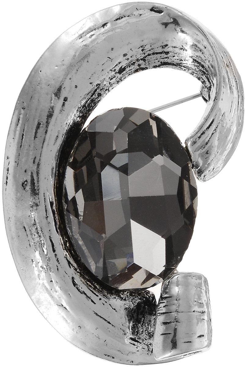 Брошь женская Art-Silver, цвет: серебряный. 08208237-43808208237-438Бижутерный сплав, кристаллы.