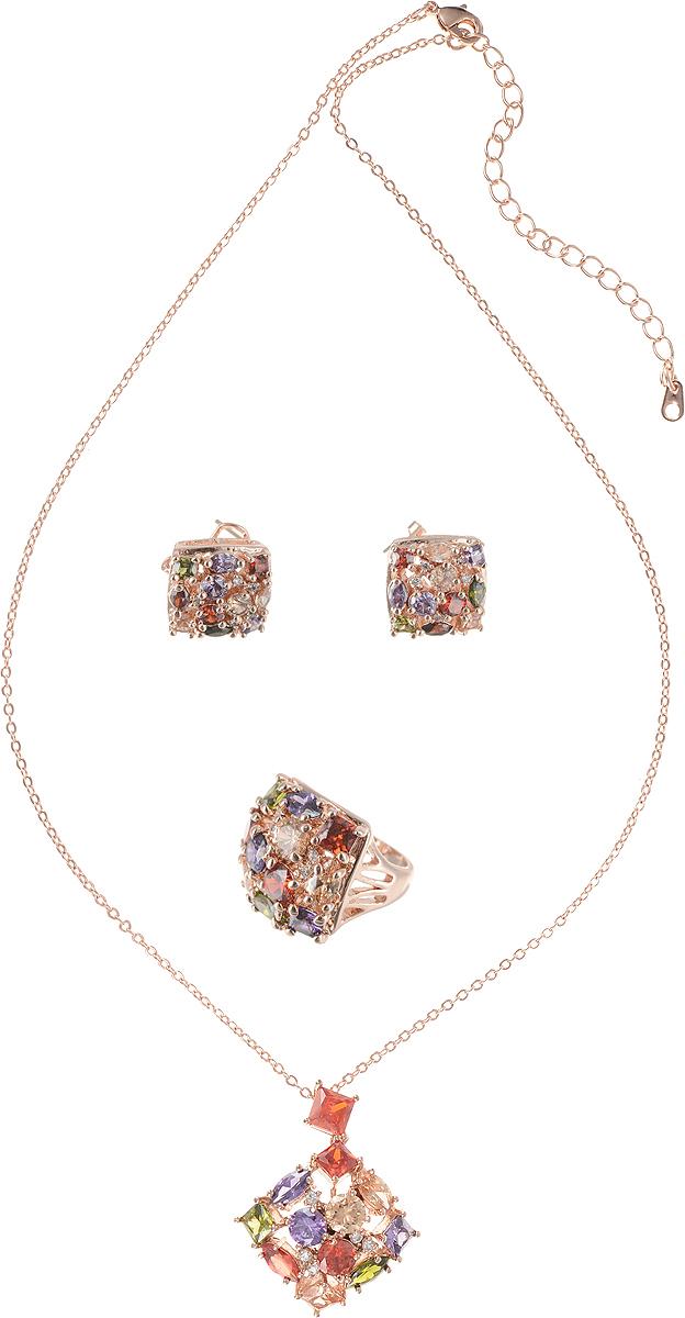 Комплект Ажурная капля от Arrina: кулон на цепочке, кольцо и серьги. Разноцветные кристаллы, прозрачные стразы, бижутерный сплав золотого тона. Гонконг91191258vrРоскошный комплект Ажурная капля от Arrina: кулон на цепочке, кольцо и серьги. Разноцветные кристаллы, прозрачные стразы, бижутерный сплав золотого тона. Гонконг. Размер: Цепочка - полная длина 42-48 см, регулируется за счет застежки-цепочки. Кулон - 2 х 2 см. Серьги - 1,5 х 1,5 см. Кольцо - размер 18 (по российским стандартам).