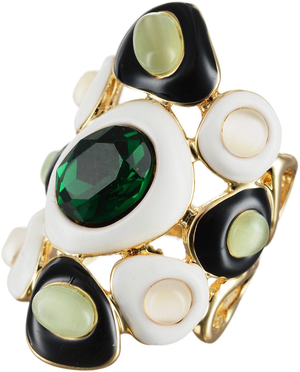 Кольцо Art-Silver, цвет: золотой, белый, зеленый. 066760-603-967. Размер 17Коктейльное кольцоОригинальное кольцо Art-Silver выполнено из бижутерного сплава с гальваническим покрытием. Кольцо украшено декоративными вставками.Элегантное кольцо Art-Silver превосходно дополнит ваш образ и подчеркнет отменное чувство стиля своей обладательницы.